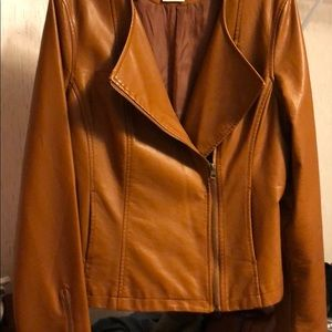 Desert colored leather jacket.